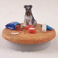 Schnauzer Gray w/Uncropped Ears Candle Topper Tiny One