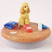 Poodle Apricot w/Sport Cut Candle Topper Tiny One