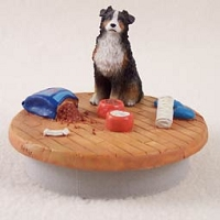 Australian Shepherd Tricolor w/Docked Tail Candle Topper Tiny One