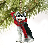 Husky Black & White w/Brown Eyes Original Ornament