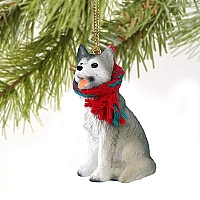 Husky Gray & White w/Brown Eyes Original Ornament
