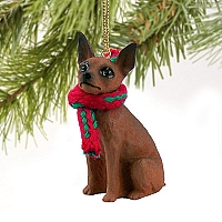 Miniature Pinscher Red & Brown Original Ornament