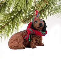 Dachshund Longhaired Red Original Ornament