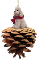Poodle White w/Sport Cut Pinecone Pet Ornament