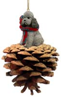 Poodle Gray w/Sport Cut Pinecone Pet Ornament
