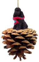 Poodle Black w/Sport Cut Pinecone Pet Ornament