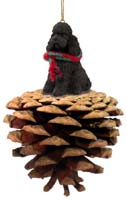 Poodle Chocolate w/Sport Cut Pinecone Pet Ornament