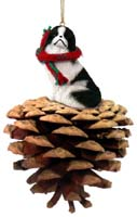 Japanese Chin Black & White Pinecone Pet Ornament