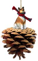 Collie Smoth Hair Pinecone Pet Ornament
