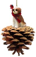 Shih Tzu Tan w/Sport Cut Pinecone Pet Ornament