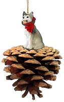 Husky Gray & White w/Brown Eyes Pinecone Pet Ornament