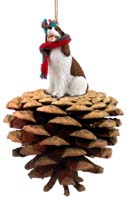 Springer Spaniel Liver & White Pinecone Pet Ornament