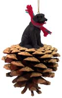 Labrador Retriever Black Pinecone Pet Ornament