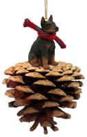 Doberman Pinscher Red w/Cropped Ears Pinecone Pet Ornament
