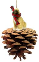 Afghan Tan & White Pinecone Pet Ornament