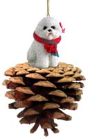 Bichon Frise Pinecone Pet Ornament