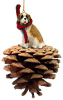 Saint Bernard w/Rough Coat Pinecone Pet Ornament