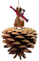 Boxer Brown Pinecone Pet Ornament