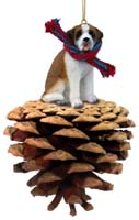 Saint Bernard w/Smooth Coat Pinecone Pet Ornament