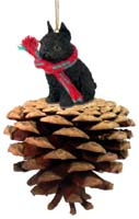 Brussels Griffon Black Pinecone Pet Ornament