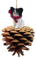 Papillon Black & White Pinecone Pet Ornament