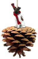 Fox Terrier Brown & White Pinecone Pet Ornament