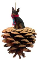 Miniature Pinscher Tan & Black Pinecone Pet Ornament
