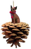 Miniature Pinscher Red & Brown Pinecone Pet Ornament