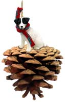 Jack Russell Terrier Black & White w/Rough Coat Pinecone Pet Ornament