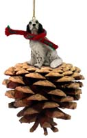 English Setter Belton Blue Pinecone Pet Ornament