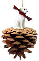 Whippet White Pinecone Pet Ornament