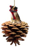 Australian Shepherd Brown Pinecone Pet Ornament