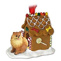 Pomeranian Red Ginger Bread House Ornament