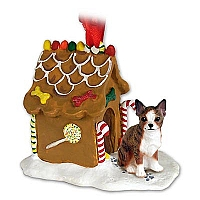Chihuahua Brindle & White Ginger Bread House Ornament