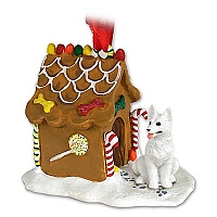 German Shepherd White Ginger Bread House Ornament