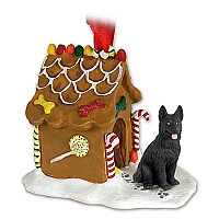 German Shepherd Black Ginger Bread House Ornament