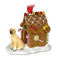 Great Dane Fawn w/Uncropped Ears Ginger Bread House Ornament