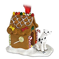 Great Dane Harlequin w/Uncropped Ears Ginger Bread House Ornament