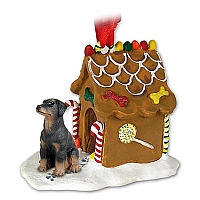 Doberman Pinscher Black w/Uncropped Ears Ginger Bread House Ornament