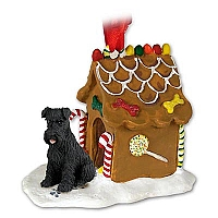 Schnauzer Black w/Uncropped Ears Ginger Bread House Ornament