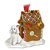 Poodle White w/Sport Cut Ginger Bread House Ornament