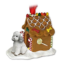 Poodle Gray w/Sport Cut Ginger Bread House Ornament
