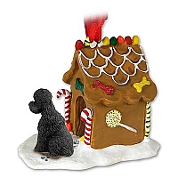 Poodle Black w/Sport Cut Ginger Bread House Ornament