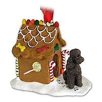 Poodle Chocolate w/Sport Cut Ginger Bread House Ornament
