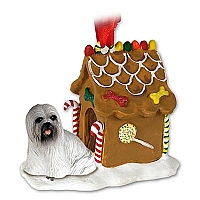 Lhasa Apso Gray Ginger Bread House Ornament