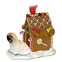 Lhasa Apso Brown Ginger Bread House Ornament