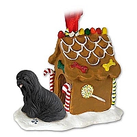 Lhasa Apso Black Ginger Bread House Ornament