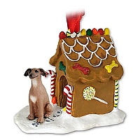 Italian Greyhound Ginger Bread House Ornament