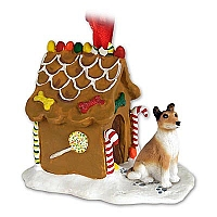 Collie Smoth Hair Ginger Bread House Ornament