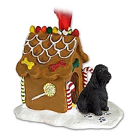 Cocker Spaniel English Black Ginger Bread House Ornament